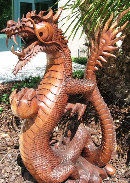 Hand Carved Dragon With Fireball From Bali