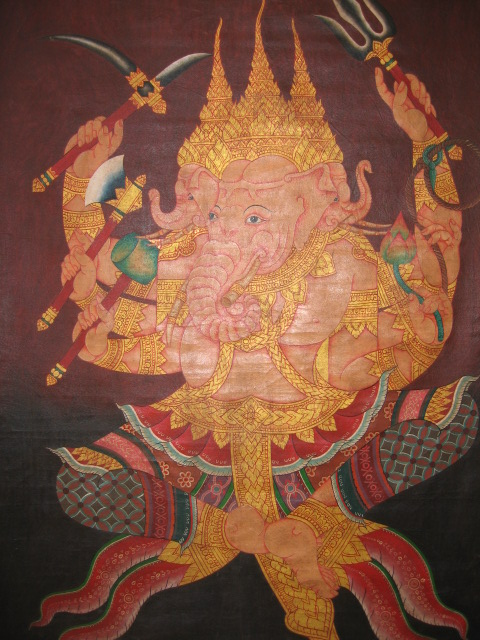 3 head ganesh painting