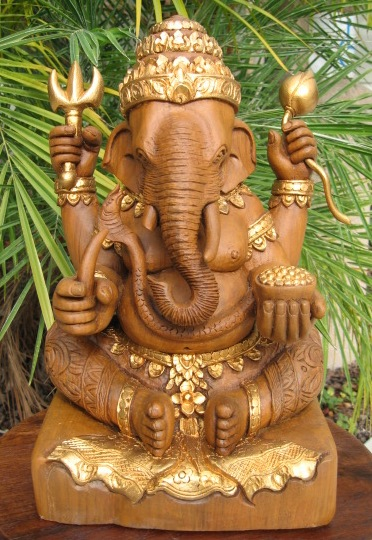 Hand carved Ganesh Warrior God