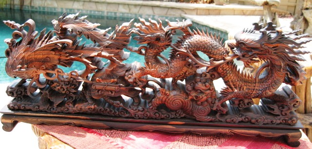 Hand Carved Mahogany Wood Dragon Statue From Vietnam
