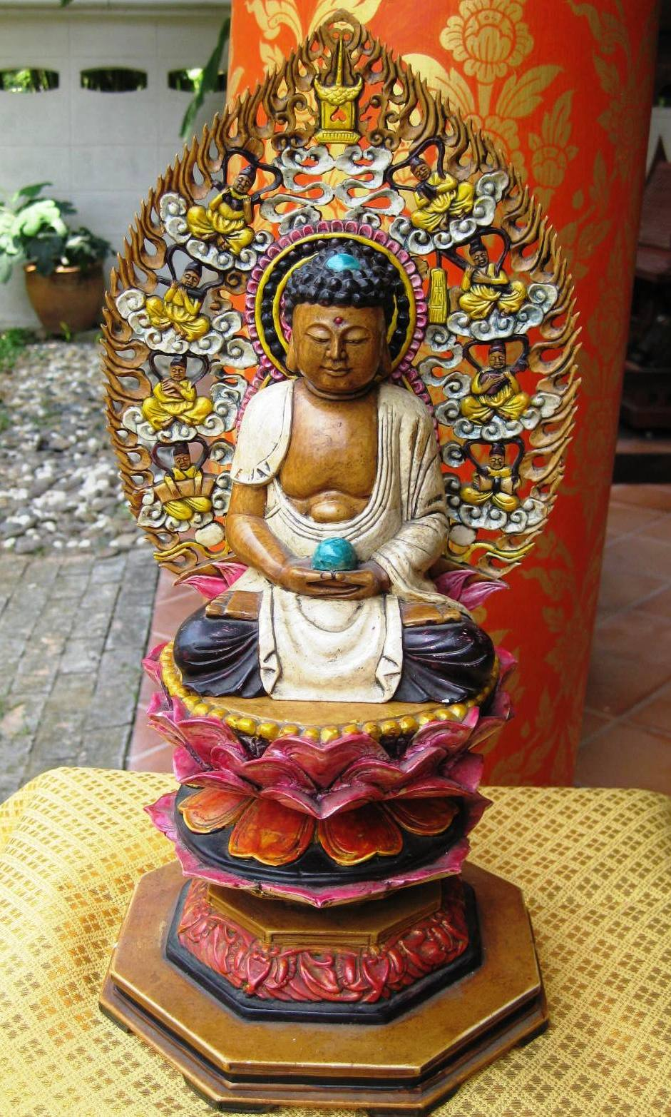 Hand Carved Stone Samadhi Buddha on Bodhi Tree Vietnam
