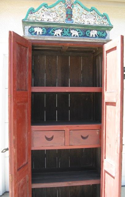 Antique Hand Carved Teak Wood Burmese Style Cabinet