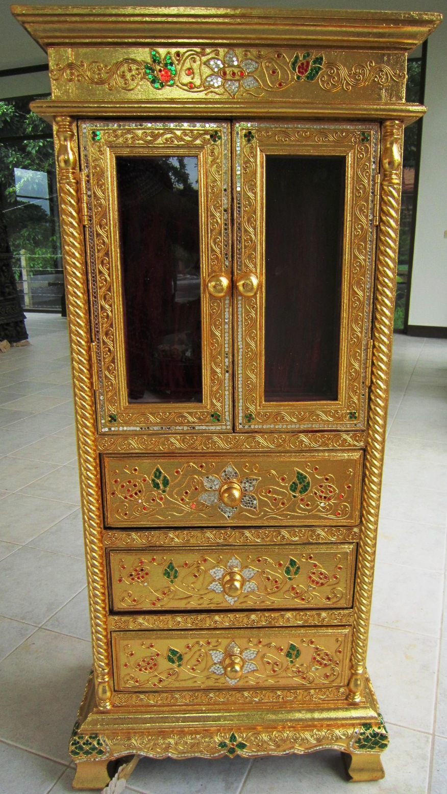 Hand Carved Gold Leaf Display Cabinet