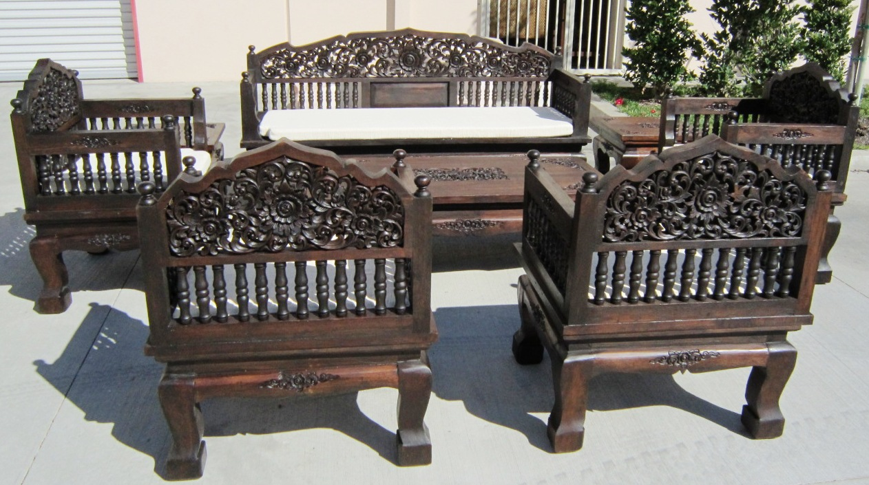 8 Piece Living Room Set Of Hand Carved Set Of 8 Piece Teak Wood Living Room Set