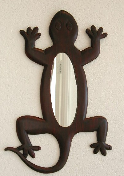 Hand Carved Gecko Mirror