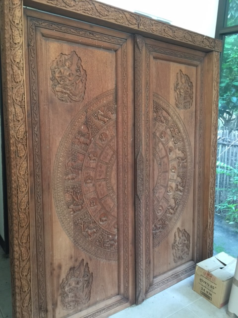 Set of  Hand Carved Zodiac Doors with Frame