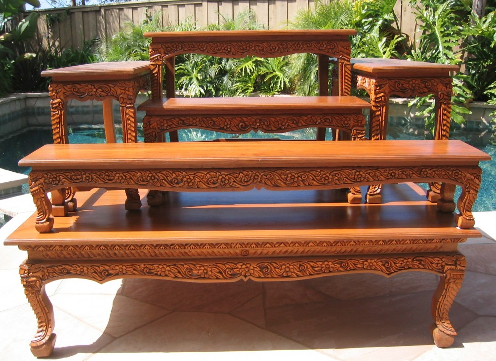 Extra Large Altar Table Set Teak Wood