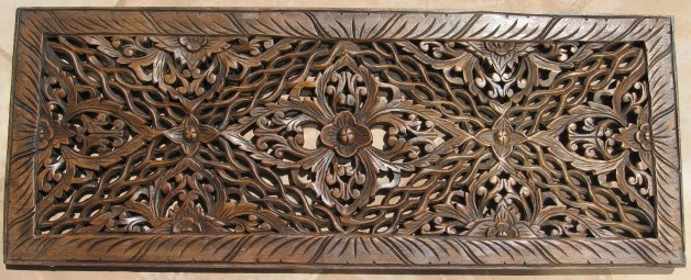 1'x3' Floral  Teak Wood Panel Mahogany finish