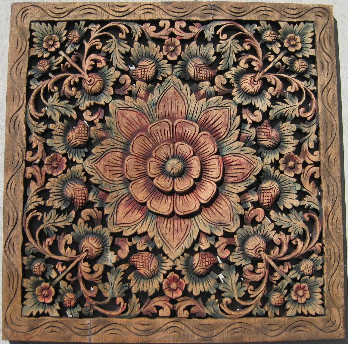 Custom hand carved teak wood panels