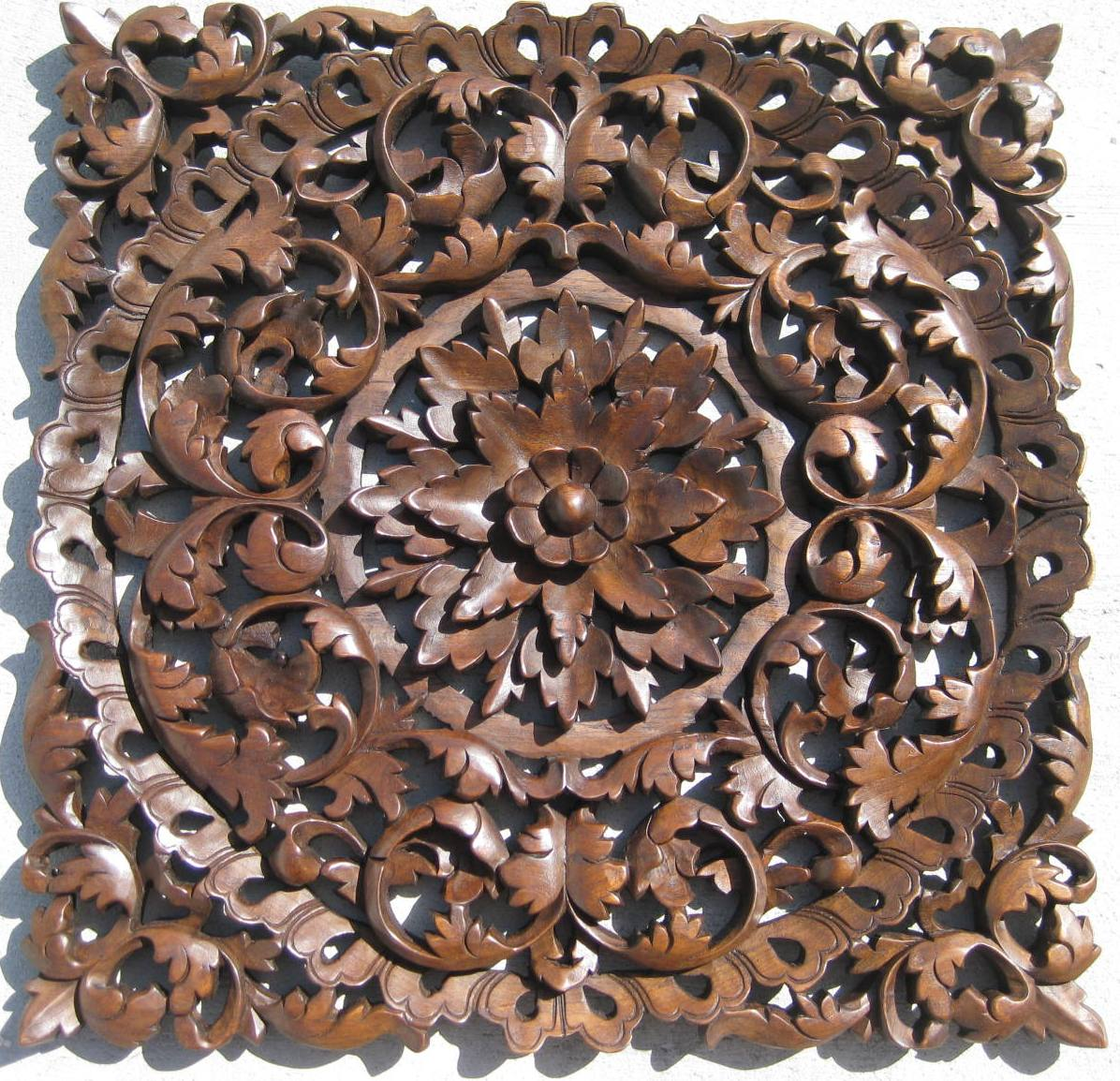 Ft hand carved teak wood panel