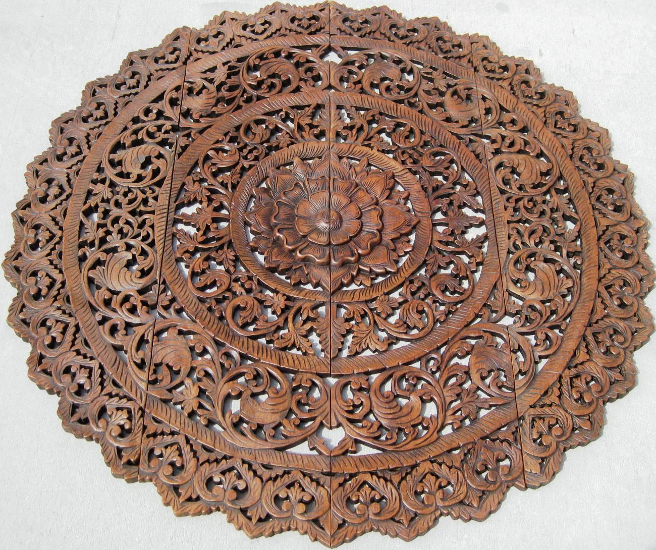 Ft round teak wood panel