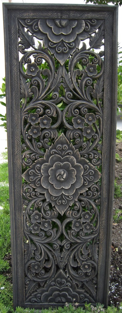 Hand carved floral panel