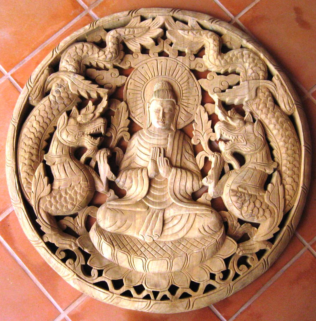 2ft Round Buddha Natural Teak