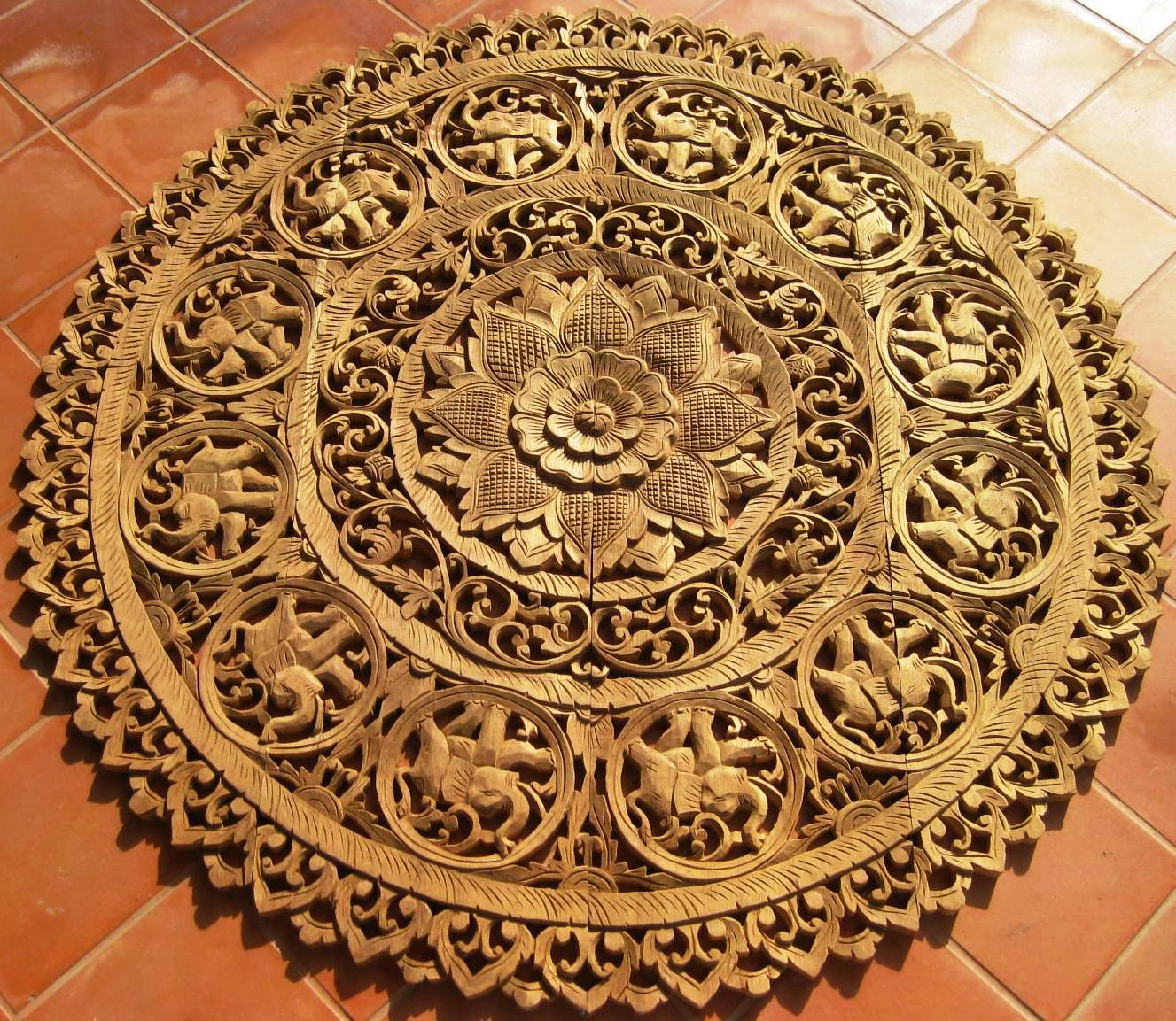4ft Round Elephant Natural Teak Panel
