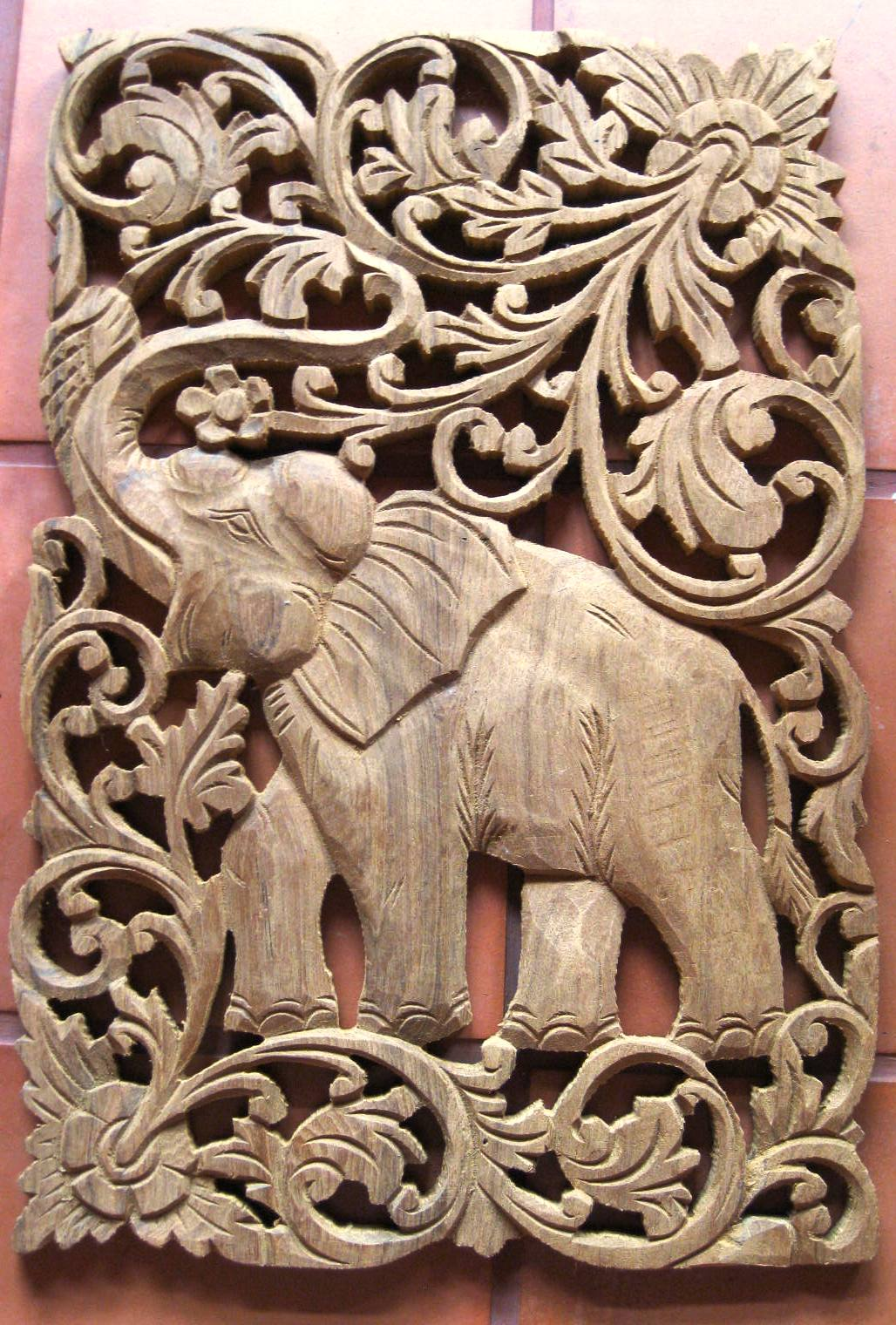 Teak wood panels hand carved