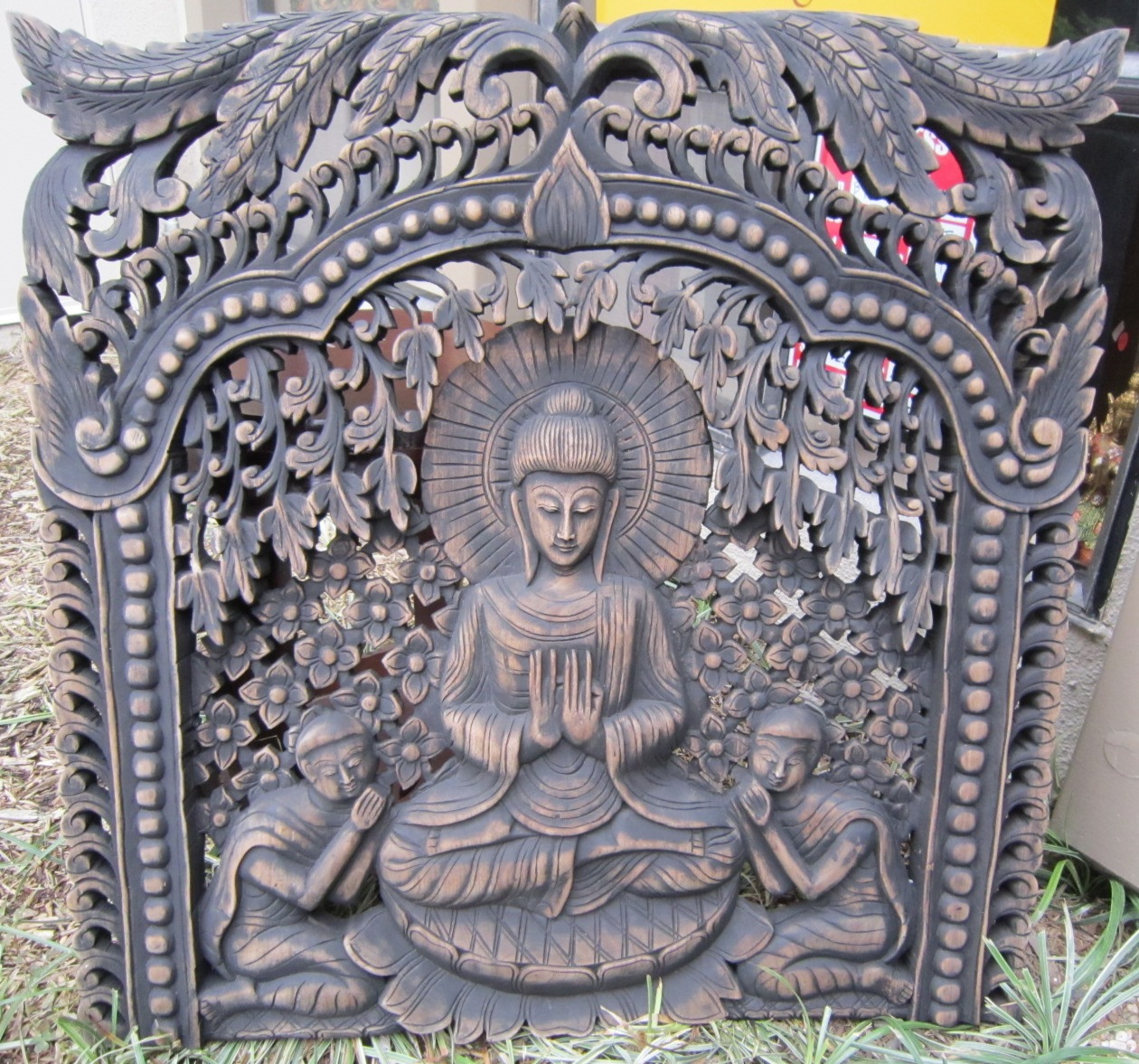Buddha under Bodhi Tree Panel Antique Finish