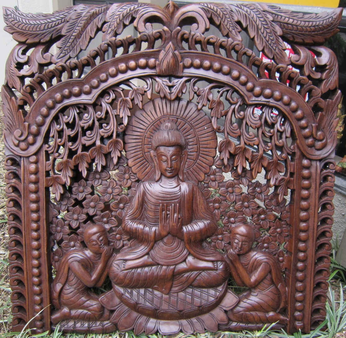 Buddha Under Bodhi Tree Panel Oak Finish