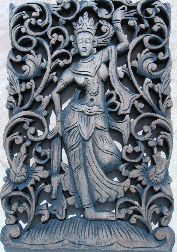 Thai angel teak panel