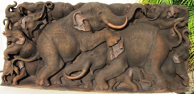 Elephant Herd Teak Wood Carving