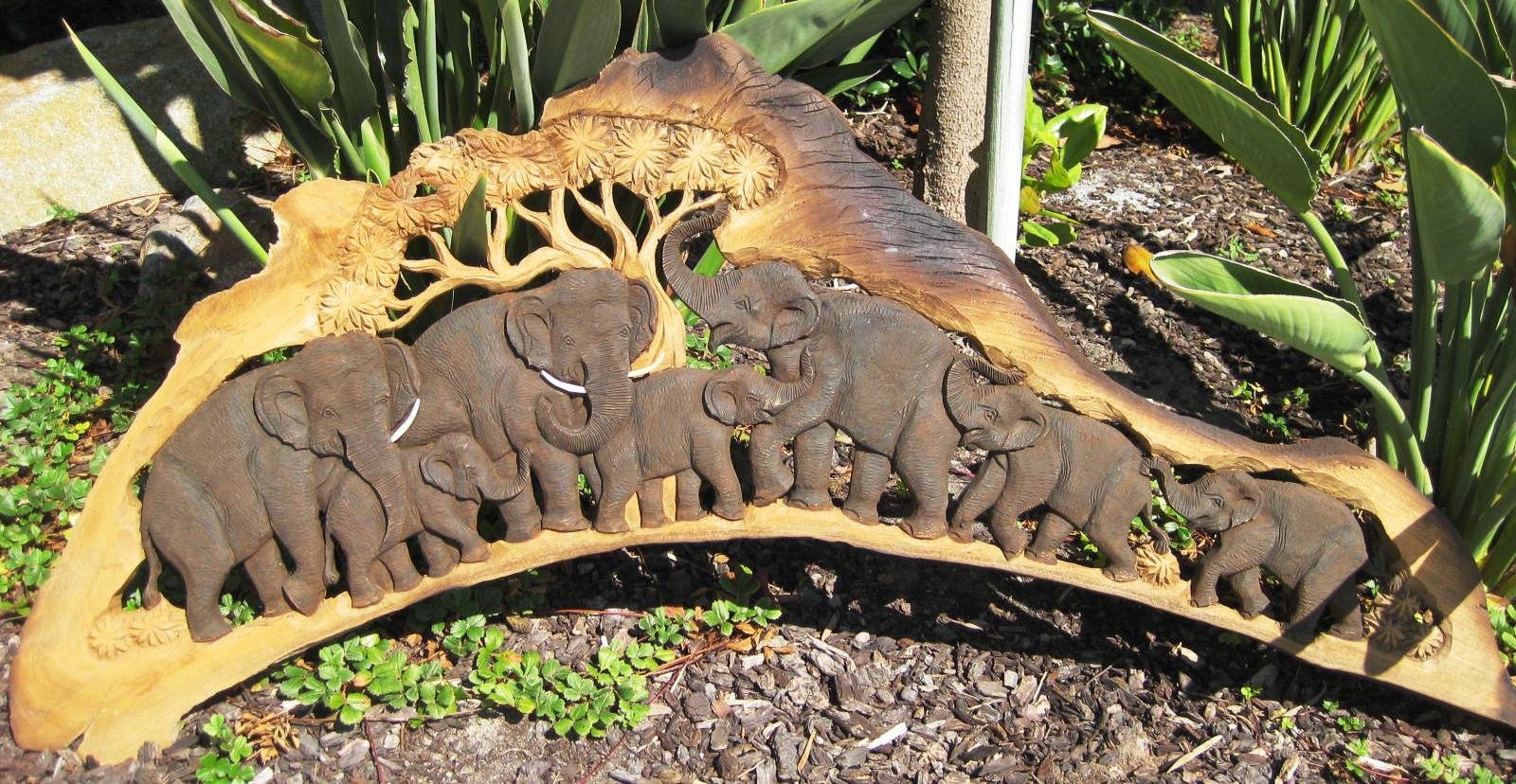 Teak Wood Elephant Herd Panel